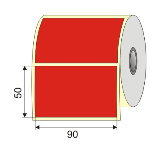 "Picture of Nalepnica papir crvena 90x50 1"" H40"